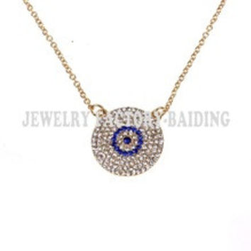 Free shipping!fashion colar turco crystal plated evil eye necklace turkish necklaceblue evil eyepopular chain necklace