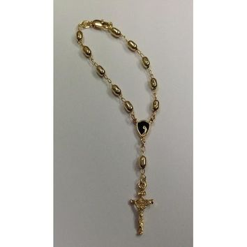 "Gold Electroplated 7 1/2"" Rosary Bracelet with Black colored Center in a Red Pouch"