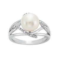 Freshwater Cultured Pearl & Diamond Accent Sterling Silver Openwork Ring (White)