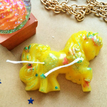 Cute glitter candle, yellow pony candle, my little pony, yellow home decor, little pony gift, homemade candle, mini candle, kawaii present