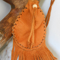 Medicine Bag with Fringe, Medicine Pouch, Handmade, Native American, Powwow, Mountain Man, Hippie, Leather Pouch, Tribal, Amlet Bag