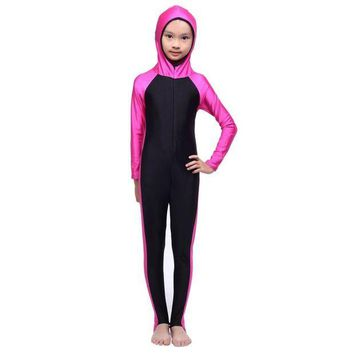 DCCK7N3 Muslim Girls Full Cover Modest Swimsuit Islamic Beachwear Swimming Costumes Body Suit S M L XL