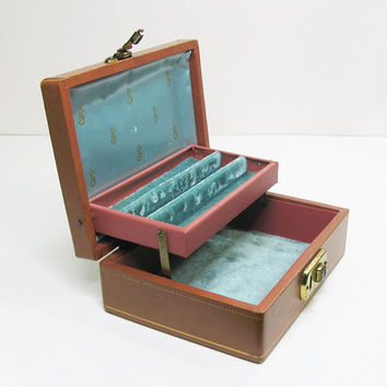 Vintage jewelry box with teal green velvet lining - Mele style 2-tier jewelry box in burnt orange and brass accent