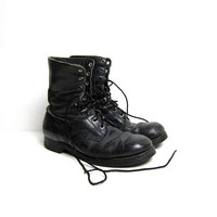 vintage leather combat boots. black men's worn in distressed work boots. tall lace up chunky goth boots. men's 9