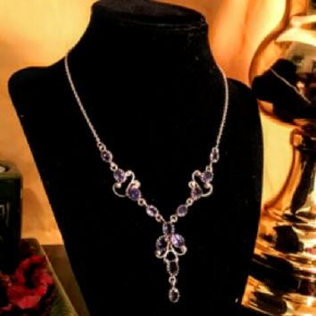 Sterling Silver Victorian style VINTAGE AMETHYST Necklace