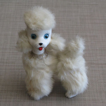 White Poodle Figurine - Vintage 1960s - Real Fur Trim - WowFactorCollectible