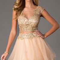 Short Two Piece Illusion Prom Dress by Dave and Johnny