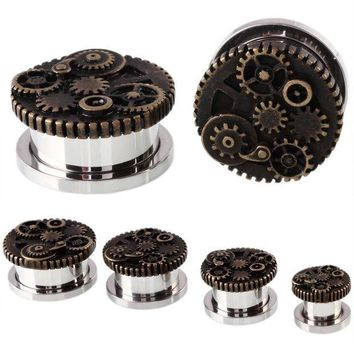 ac PEAPO2Q 2PCS Steampunk Wheel Design Srew Fit Steel Ear Plugs and Tunnels Piercings Ear Stretchers Gauges Expander Body Jewelry Piercings