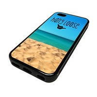 For Apple Iphone 5 or 5s Cute Phone Cases for Girls Hang Loose Sandy Beach Surfer Surf Design Cover Skin Black Rubber Silicone Teen Gift Vintage Hipster Fashion Design Art Print Cell Phone Accessories