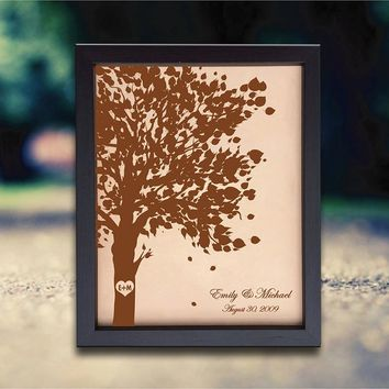 Lik69 Leather Engraved 3rd Anniversary Gift  Wedding Third Anniversary giftName Date tree