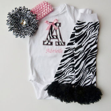 Monogram Onesuit and Leg Warmer Personalized Baby Girl Gift Set Zebra Pink