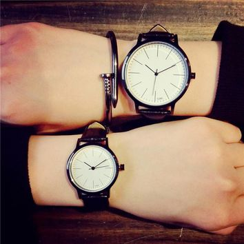 Retro genuine leather Korean fashion Simple trend men women watches students quartz-watch luxury brand lovers watch kol saat