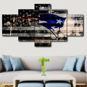 5 panel painting print painting canvas art New England Patriots modular picture large wall picture for living room sports logo