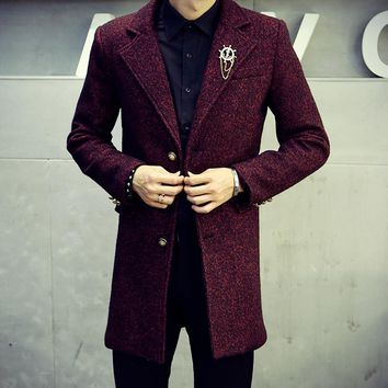 Thintenda New Arrival British Style High Quality Brand Mens Winter Wool Coat Designed Gothic Trench Coat Men Pea Coats For Man
