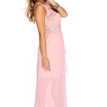 Sexy Dusty Pink Sleeveless Floral Lace V Neck Maxi Dress