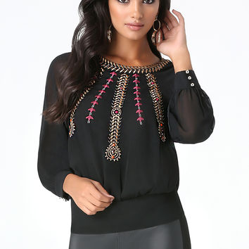bebe Womens Embroidered Beaded Top Black