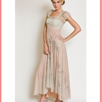 Nataya Vintage Inspired Sage Green Embroidered Tulle Empire Dress
