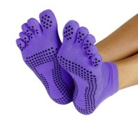 ProSource Discounts Full Toe Yoga Socks, Purple, Small/Medium