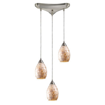 10141/3 Capri 3 Light Pendant In Satin Nickel And Capiz Shell - Free Shipping!