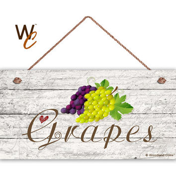 "Grapes Sign, Green and Purple Fruit, Garden Sign, Rustic Distressed Decor, Weatherproof, 5"" x 10"" Sign, Gift For Gardener, Made To Order"