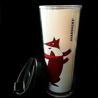 Starbucks Travel Tumbler Let's Merry Fox Foiled Coffee Holiday 16oz 2009 k113