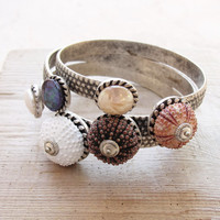 Sea Urchin Cuff - Elegant Sea Urchin and Pearl Bracelet - Pick Your Color - Pink Brown White