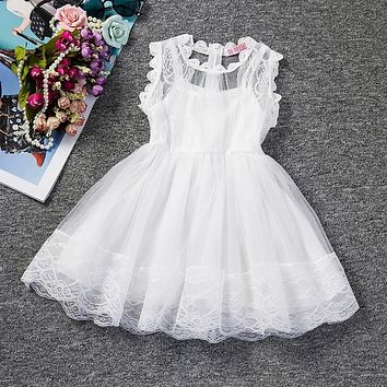 2018 Baby Girl Floral Lace Princess Tutu Dress Wedding Christening Gown Dress Girls Clothes For Kids Party Wear Meninas Vestidos