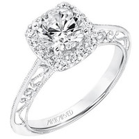 "Artcarved ""Audriana"" Halo Diamond Engagement Ring Featuring Knife Edge Shank"