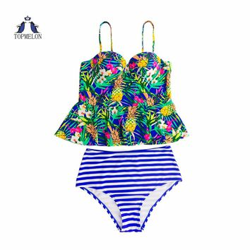swimwear high waist bikini printing Striped Bather Swimsuits beachwear beach sexy swimsuit  bikini set Women Summer bathing suit