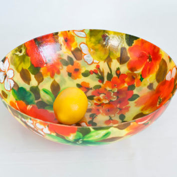Mid Century Large Fiberglass Salad Bowl, MCM Snack Serving Bowl, Bright Hawaiian Style 1960s Floral, Bright Orange Green Yellow, 12 1/2 INCH