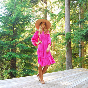 70s Crochet Gauze Dress, PINK Poet Sleeve Boho Maxi Dress, Oversized Hippie Dress, Summer Festival Dress, Folk Pleated Tent Caftan Dress