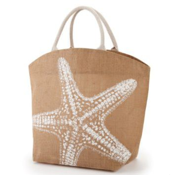 Two's Company Seascape Burlap Jute Tote Town City Beach Bag (Starfish)