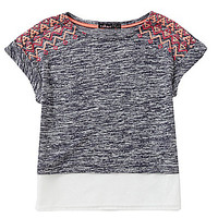 Takara 7-16 Knit-to-Woven Colorblock Top - Navy