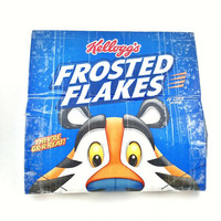 Cute Blue Long Women's Wallet, Tony The Tiger Novelty Wallet For Women Gift, Small Clutch Bag, Cool Upcycled Frosted Flakes Cereal Box Purse