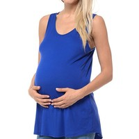 Royal Blue Scoop-Neck Maternity Tank