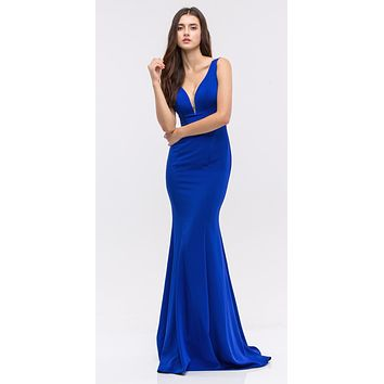 Plunging V-Neck Floor Length Mermaid Prom Dress Royal Blue