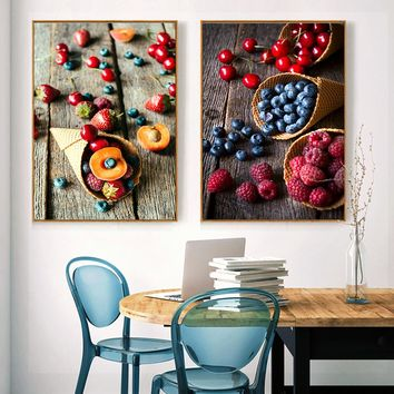 Nordic Desserts Fruit Canvas Painting Photography Poster Print Wall Art Picture For Dinning Room Kitchen Cafe Modern Home Decor