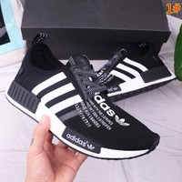 Adidas NMD Fashion New Stripe Print Couple Sports Leisure Running Comfortable Shoes