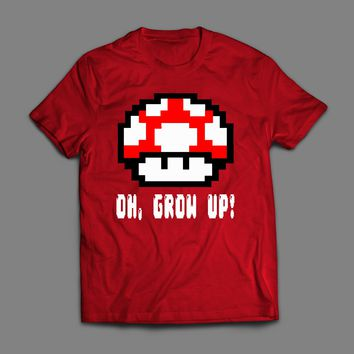 OH GROW UP, LEVEL UP 8-BIT MUSHROOMS T-SHIRT