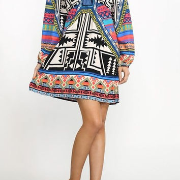 Eliza Bella for Flying Tomato Off or On Shoulder Piece Print Hippie Dress SML