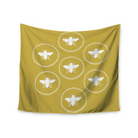 "Jennifer Rizzo ""Busy As A Bee Maise Gold"" White Nature Wall Tapestry"