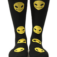 Petals & Peacocks - Happy Alien Socks - Black