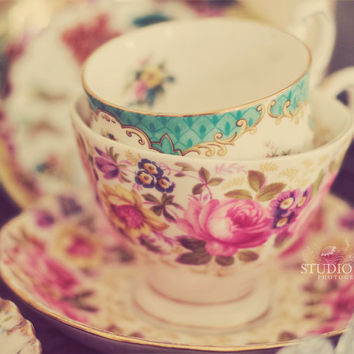 Tea Cups Photo, Still Life Photography, Tea Party, Vintage Teacup Print, Kitchen Decor, Pink, Romantic Cottage Art, Shabby Chic, Nursery