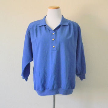 FREE usa SHIPPING vintage pullover over sized batwing royal blue blouse 3 quarters sleeves padded shoulders polyester rayon cotton size L