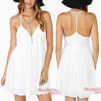2014 Women Sexy V Neck Backless Club Party Summer Beach Sundress Mini Slip Dress