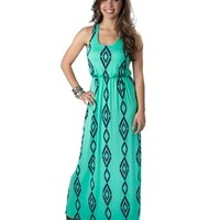 Karlie Women's Mint with Navy Aztec Print Sleeveless Maxi Dress