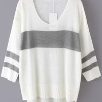 White Grey V Neck Striped Long Sleeve Sweater