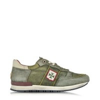 D'Acquasparta Designer Shoes Olimpic Amalfi Green Leather Men's Sneaker