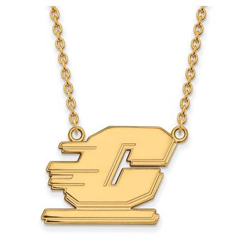 NCAA 10k Yellow Gold Central Michigan U Large Pendant Necklace