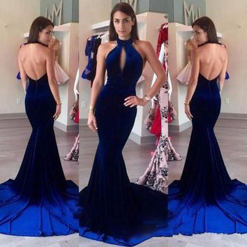 Velvet Evening Prom Dresses 2017 Halter Keyhole Front Sexy Royal Blue Mermaid Prom Formal Long Party Gowns vestido longo EF58